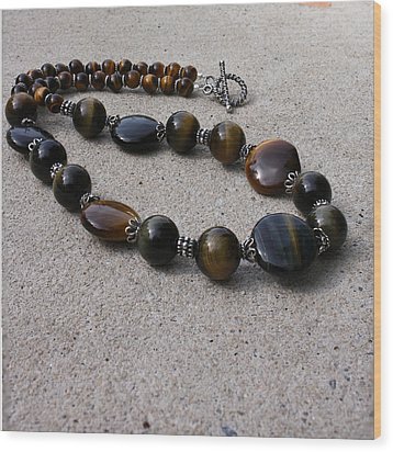 3595 Tigereye And Bali Sterling Silver Necklace Wood Print by Teresa Mucha