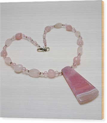 3604 Rose Quartz And Agate Pendant Necklace Wood Print by Teresa Mucha