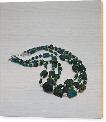 3609 Australian Jasper Triple Strand Necklace Wood Print by Teresa Mucha