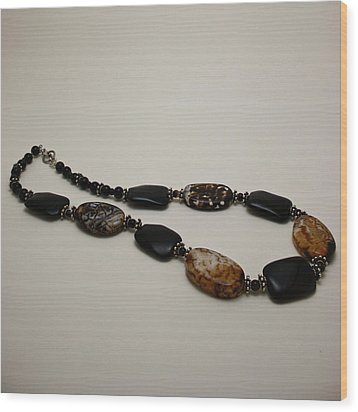 3617 Crackle Agate And Onyx Necklace Wood Print by Teresa Mucha