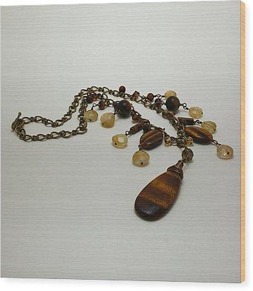 3618 Tigereye And Citrine Necklace Wood Print by Teresa Mucha