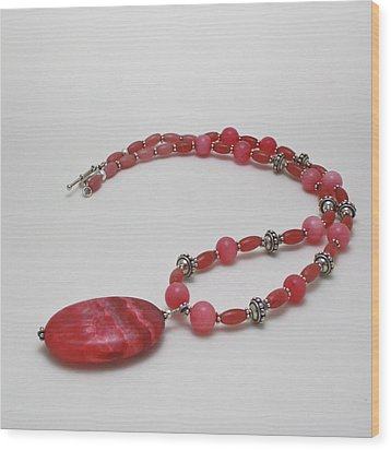3619 Rhodonite And Bali Sterling Silver Necklace Wood Print by Teresa Mucha