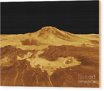 3d Perspective View Of Maat Mons Wood Print by Stocktrek Images