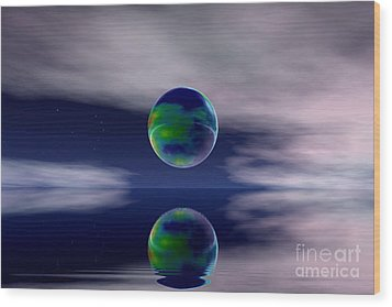 Planet Reflection Wood Print by Odon Czintos