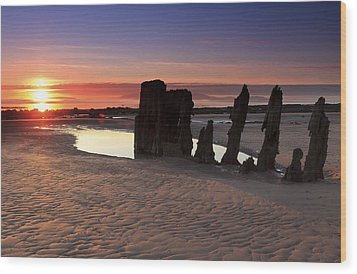 Ardrossan Sunset Wood Print by Fiona Messenger