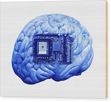 Artificial Intelligence And Cybernetics Wood Print by Victor De Schwanberg