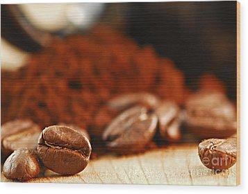 Coffee Beans And Ground Coffee Wood Print by Elena Elisseeva