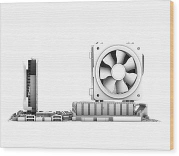 Computer Motherboard, Artwork Wood Print by Pasieka
