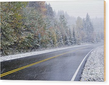 Fall Color And Snow Along The Highland Scenic Highway Wood Print by Thomas R Fletcher