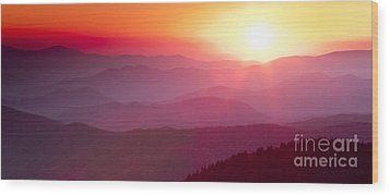 Great Smokie Mountains Sunset Wood Print by Dustin K Ryan