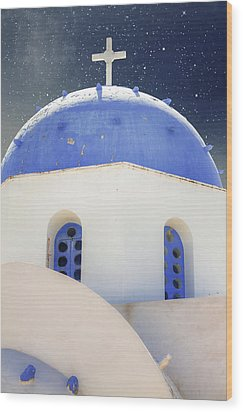 Greek Chapel Wood Print by Joana Kruse
