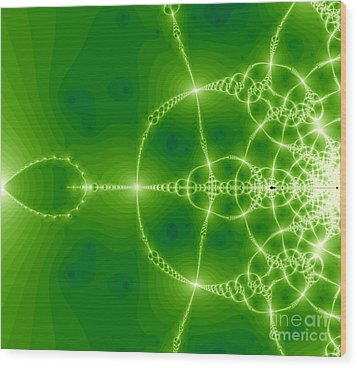 Green Fractal Wood Print by Odon Czintos