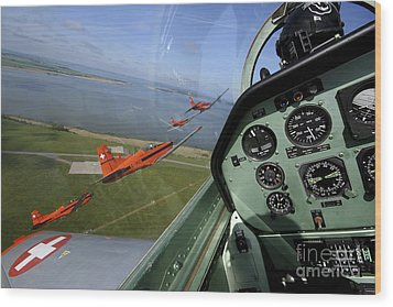 Inside The Pilatus Pc-7 Turboprop Wood Print by Daniel Karlsson