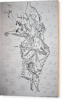 Wood Print featuring the drawing Kiganda Dance - Uganda by Gloria Ssali