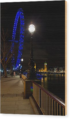 London Eye Night View Wood Print by David Pyatt