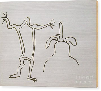 Native American Rock Art Wood Print by Roberto Prusso