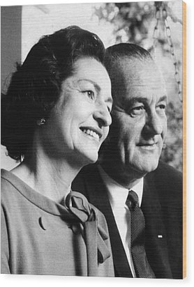 President Lyndon And Lady Bird Johnson Wood Print by Everett
