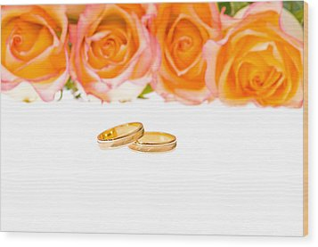 4 Red Yellow Roses And Wedding Rings Over White Wood Print by Ulrich Schade