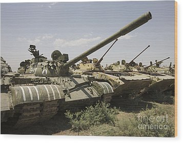 Russian T-54 And T-55 Main Battle Tanks Wood Print by Terry Moore