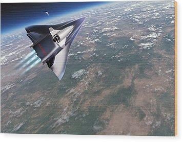 Saenger-horus Spaceplane, Artwork Wood Print by Detlev Van Ravenswaay