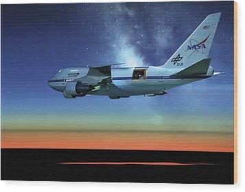 Sofia Airborne Observatory In Flight Wood Print by Detlev Van Ravenswaay