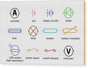 Standard Electrical Circuit Symbols Wood Print by Sheila Terry