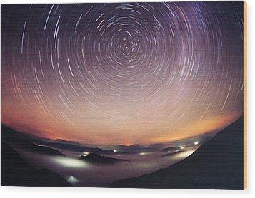 Star Trails Wood Print by Laurent Laveder