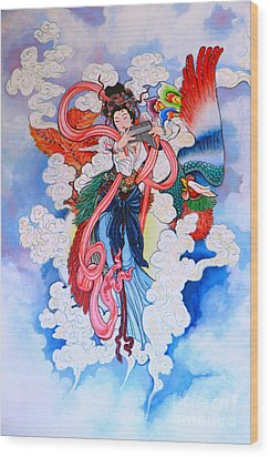 tradition Chinese painting on wall  Wood Print by Phalakon Jaisangat