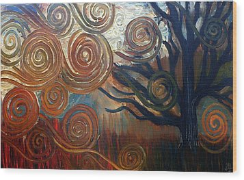Wood Print featuring the painting Untitled Tree by Monica Furlow