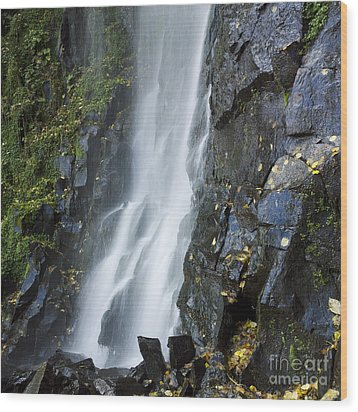 Waterfall Of Vaucoux. Puy De Dome. Auvergne. France Wood Print by Bernard Jaubert