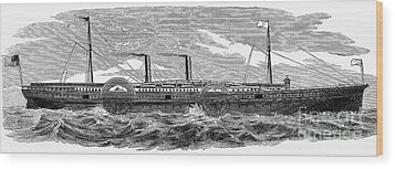 4 Wheel Steamship, 1867 Wood Print by Granger