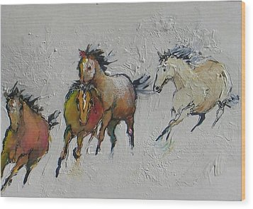 4 Wild Horses Painted Wood Print by Elizabeth Parashis