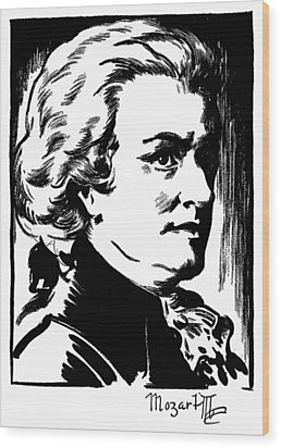 Wolfgang Amadeus Mozart Wood Print by Granger