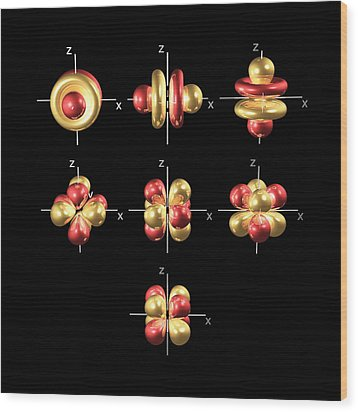 4f Electron Orbitals, Cubic Set Wood Print by Dr Mark J. Winter