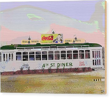 Wood Print featuring the mixed media 4th Street Diner by Charles Shoup