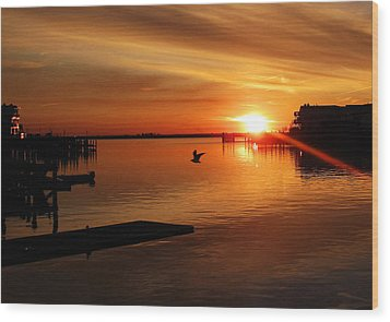 Bay Sunset Wood Print by Mary McCusker