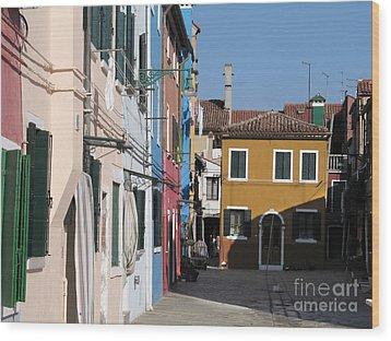 Burano Island. Venice Wood Print by Bernard Jaubert