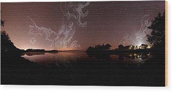 Constellations In A Night Sky Wood Print by Laurent Laveder