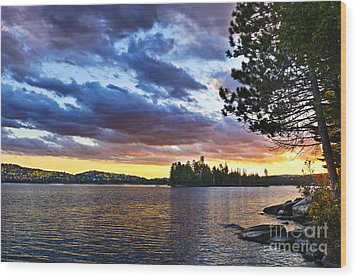 Dramatic Sunset At Lake Wood Print by Elena Elisseeva