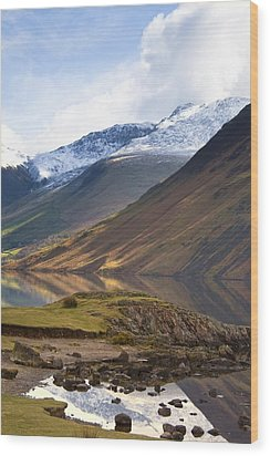 Mountains And Lake, Lake District Wood Print by John Short