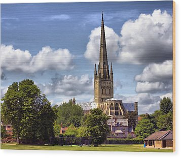 Norwich Cathedral Norfolk England Wood Print by Darren Burroughs