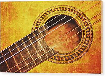 Old Guitar Wood Print by Nattapon Wongwean