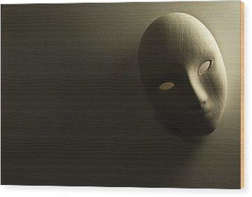 Plaster Mask In Studio Wood Print by Kantapong Phatichowwat