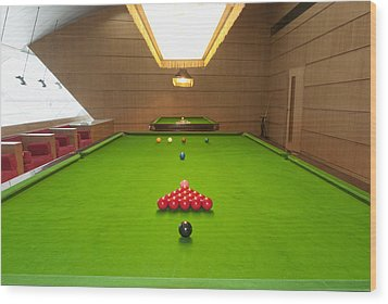 Snooker Room Wood Print by Guang Ho Zhu