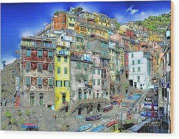 5 Terre Riomaggiore Landscape In Passeggiate A Levante Wood Print by Enrico Pelos