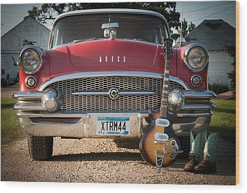 55 Buick Special With 1957 Magnatone Mark V Guitar Wood Print by Toni Thomas