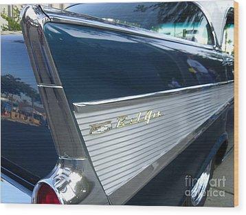 57 Chevy Bel Air Hardtop Back Fender View Wood Print by Kerry Browne