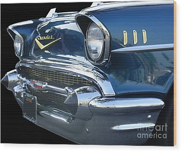 57 Chevy Bel Air Hardtop Front Wood Print by Kerry Browne