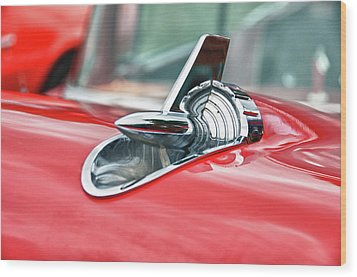 57 Chevy Hood Ornament 8509 Wood Print by Guy Whiteley