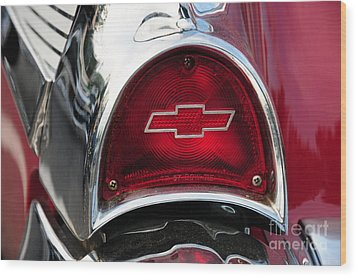 57 Chevy Tail Light Wood Print by Paul Ward